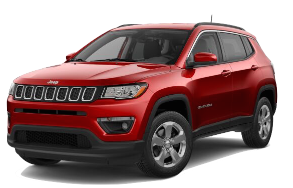 A red 2018 Jeep Compass Latitude on a transparent background