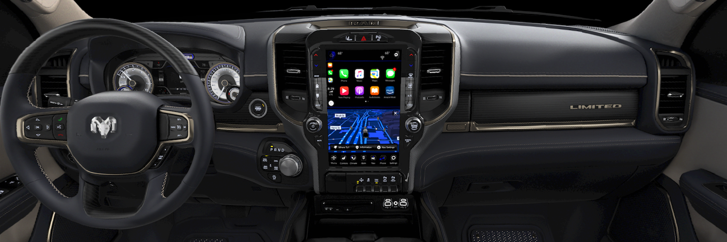 Black interior dashboard of the 2019 Ram 1500 Limited