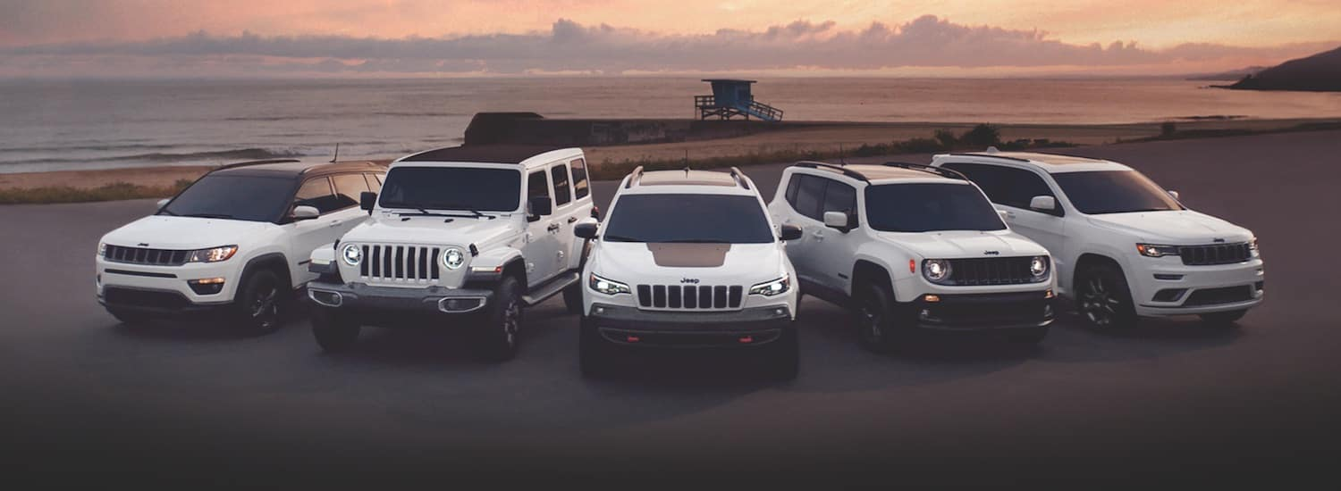 5 white Jeeps parked by the beach at sunset