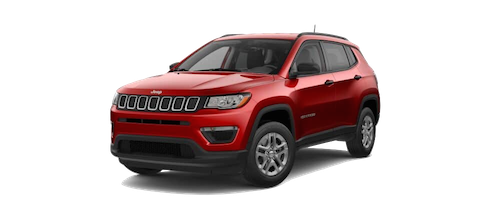 A red Jeep Compass Sport
