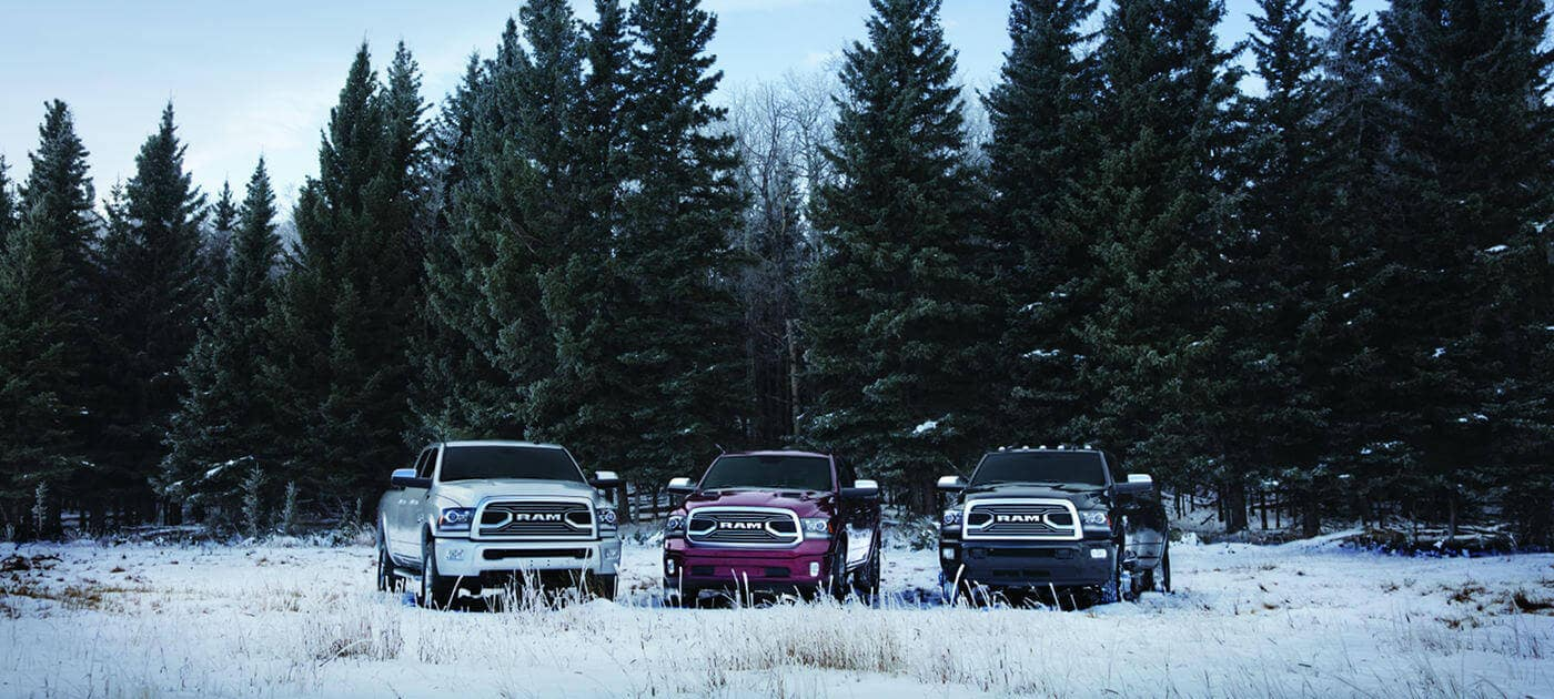 A lineup of 2018 Ram 1500s