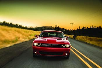 2018 Dodge Challenger Head On View with Sunset