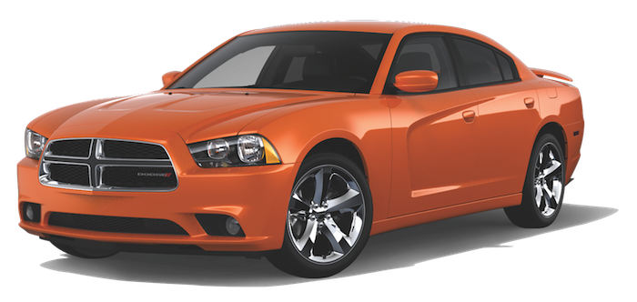 An Orange 2013 Dodge Charger on a transparent background
