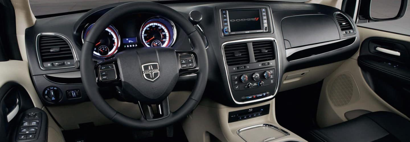 The steering wheel and dashboard of the Dodge Grand Caravan