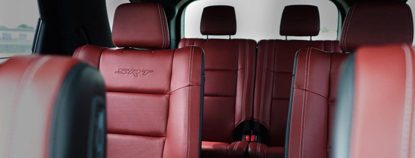 A red interior seating of the Dodge Durango