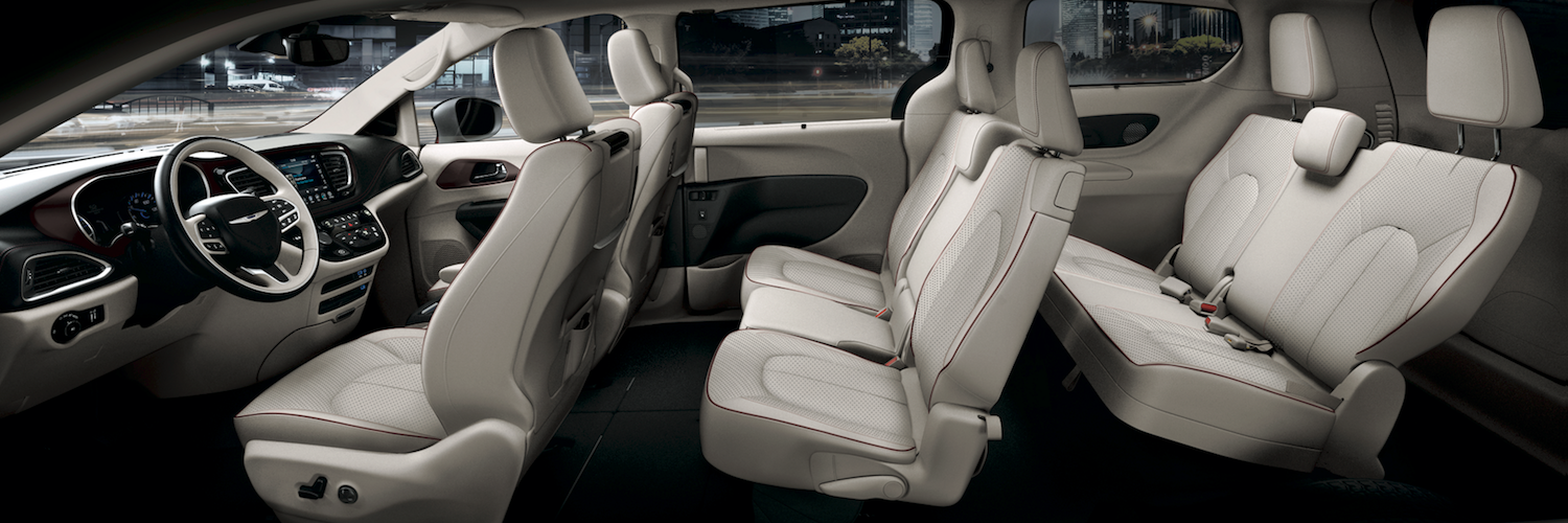 The interior seating arrangement of the Chrysler Pacifica