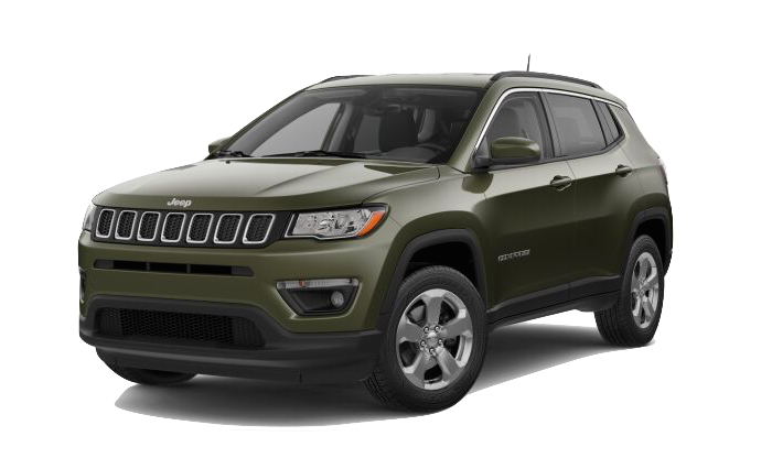 A green Jeep Compass on a transparent background