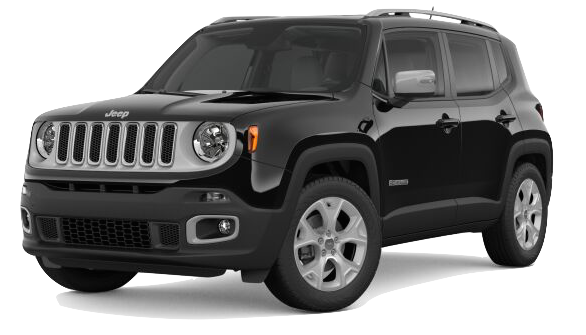 A black Jeep Renegade on a transparent background