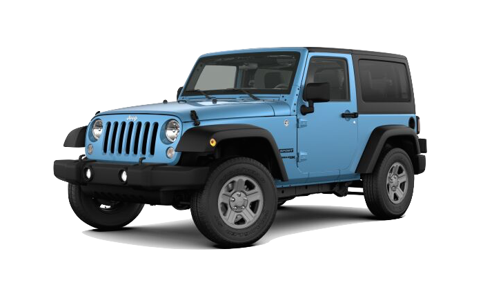 A blue Jeep Wrangler on a transparent background