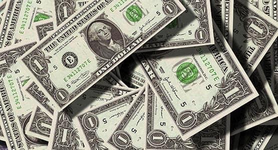 A closeup of dollar bills