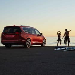 Red 2019 Chrysler Pacifica at beach