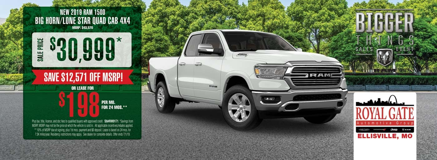 Save $12,571 off MSRP on a 2019 Ram 1500 Big Horn/Lone Star