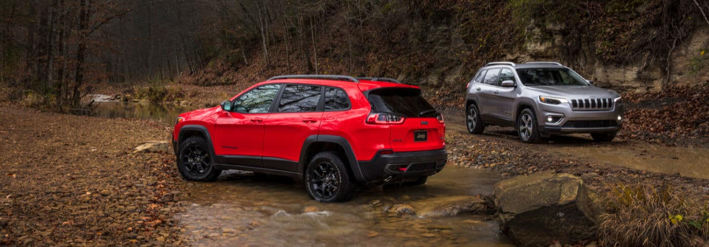 Red and Silver 2019 Jeep Cherokees