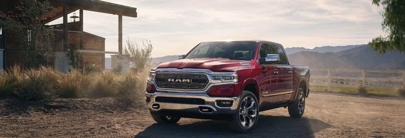 Red 2019 Ram 1500 on farm