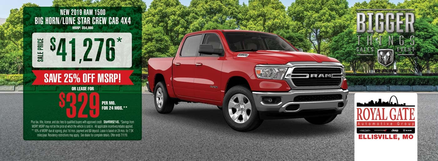 Save 25% Off MSRP on a 2019 Ram 1500 Big Horn/Lone Star