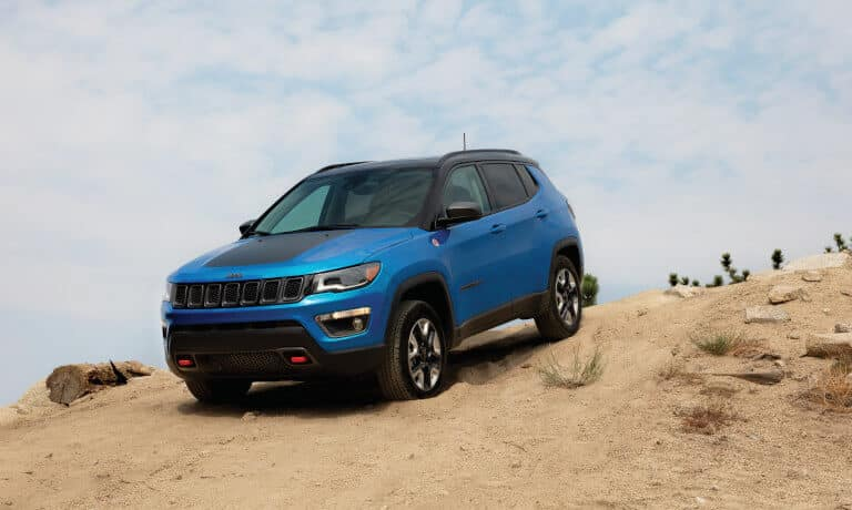 Blue Jeep Compass maneuverability