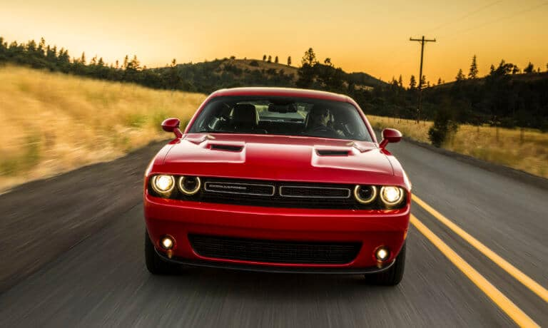 Red 2019 Red Dodge Challenger on road