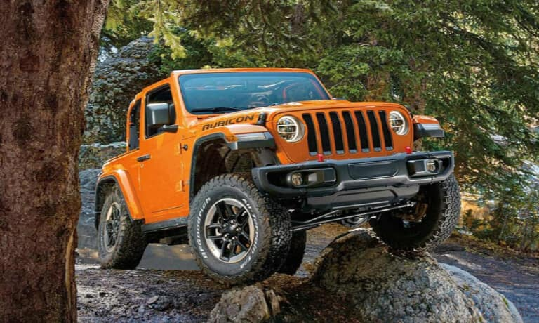 Orange 2019 Jeep Wrangler traction