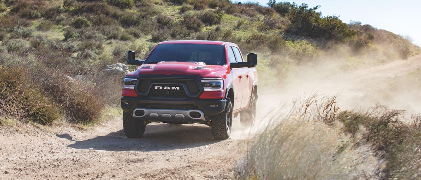 Red 2019 Ram 1500 on dirt hill