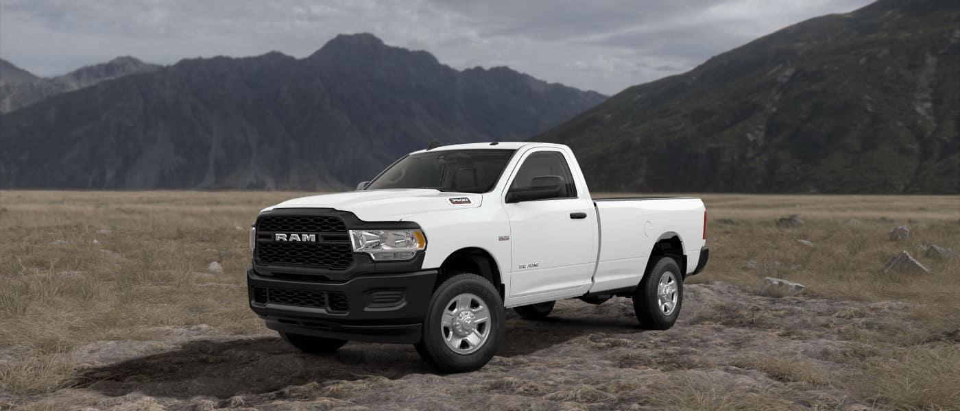 White 2019 Ram 3500 in desert