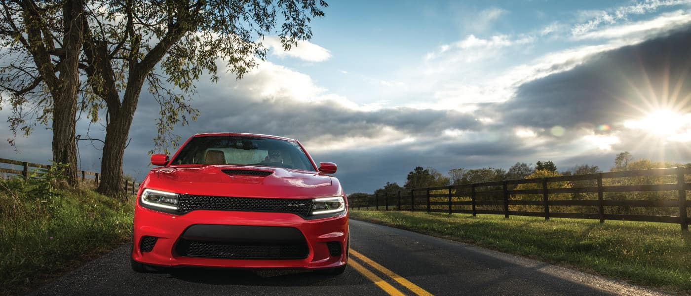 Red 2019 Dodge Charger on road