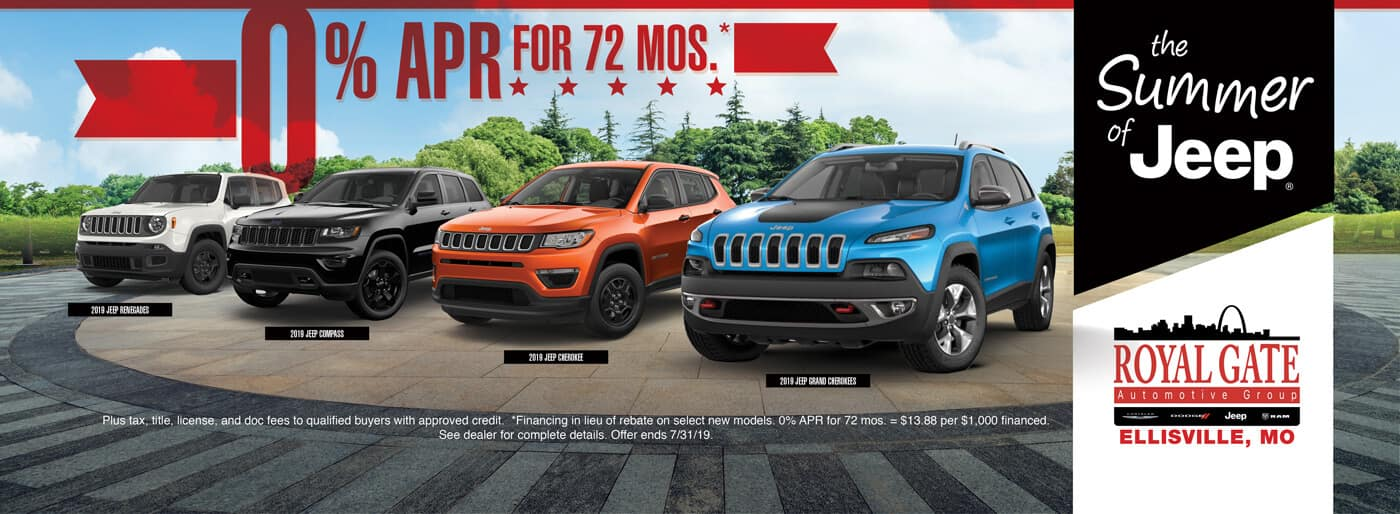 0% APR for 72 Mos. available on select Jeep Models