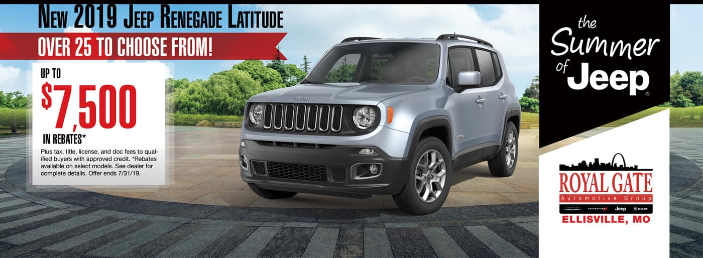 Get up to $7500 in rebates when buying a 2019 Jeep Renegade Latitude
