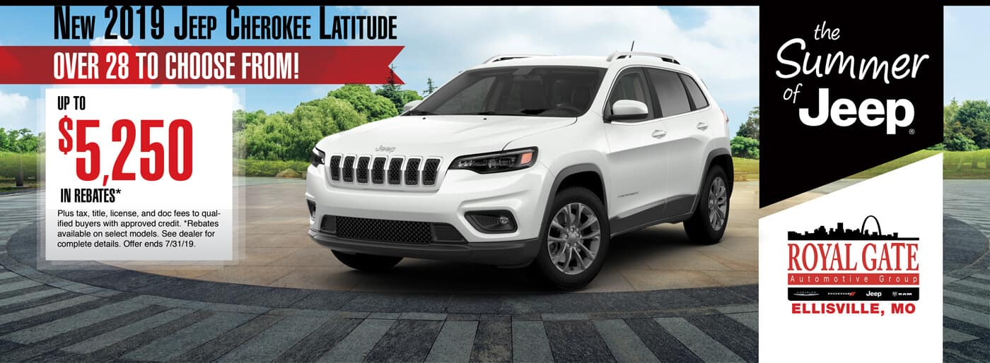 Get up to $5250 in rebates when buying a 2019 Jeep Cherokee Latitude