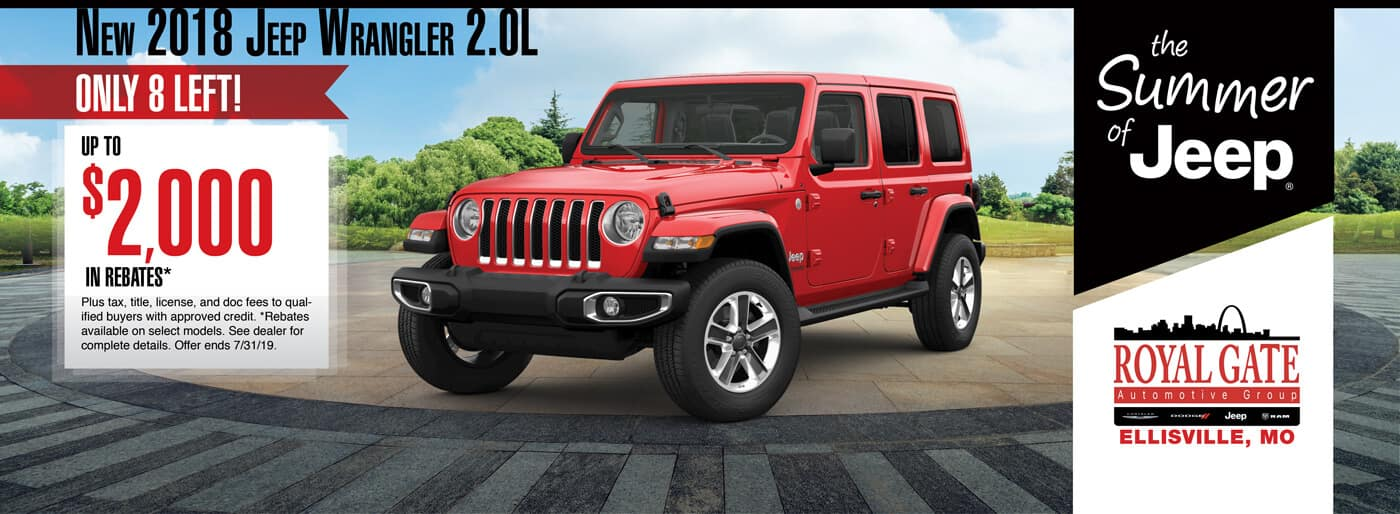 Get up to $2000 in rebates when buying a 2018 Jeep Wrangler