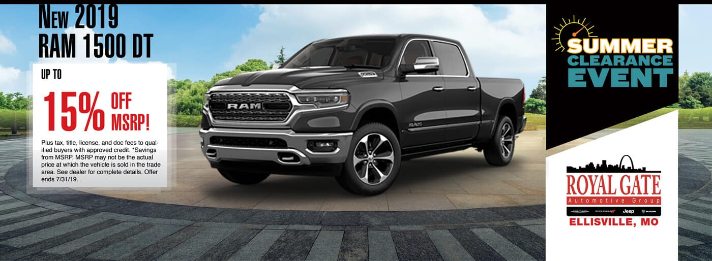 Get up to 15% off MSRP on a 2019 Ram 1500 DT