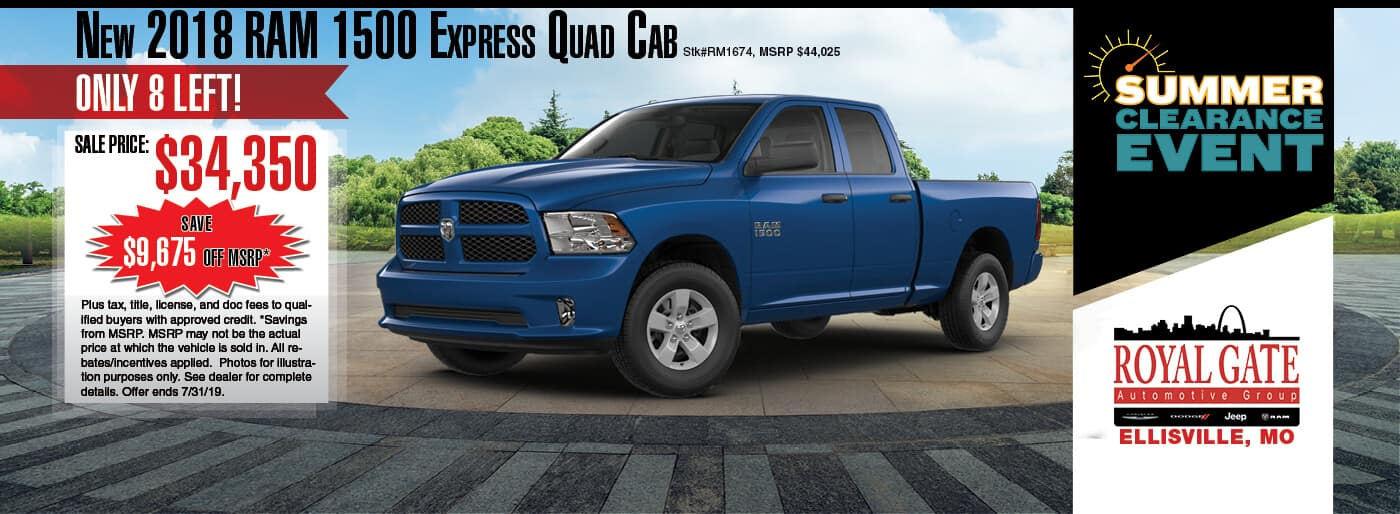 Save $9,675 off MSRP on a 2018 Ram 1500 Express