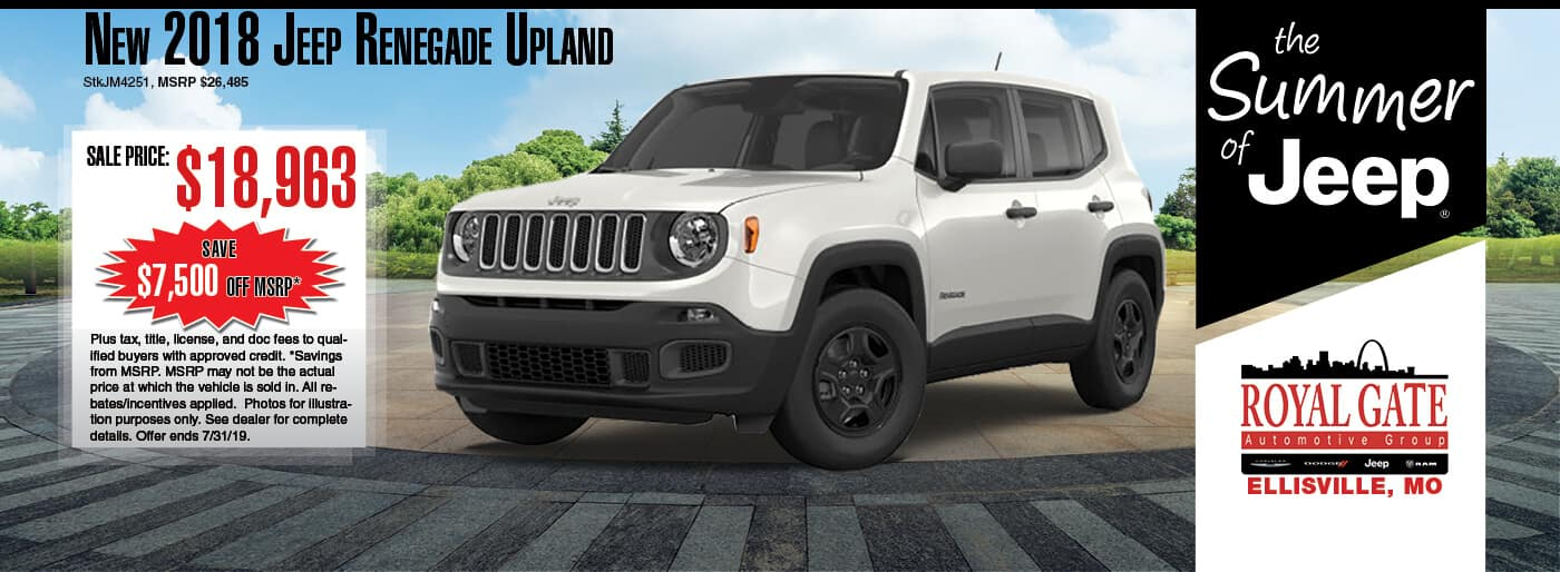 Save $7,500 off MSRP on a 2018 Jeep Renegade Upland