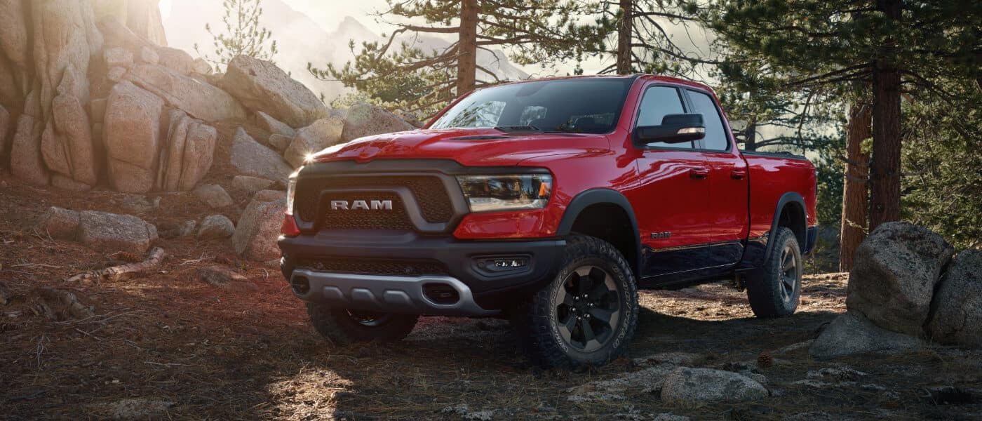Red 2019 Ram 1500 in forest
