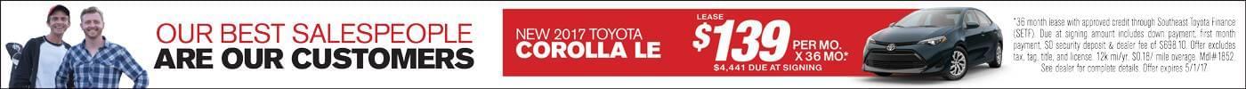 Lease 2017 Toyota Corolla LE $139 or $500 Bonus Cash