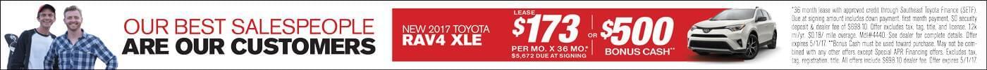 Lease 2017 Toyota RAV4 $173 or $500 Bonus Cash