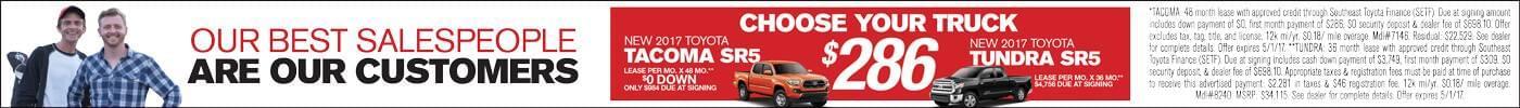 Lease 2017 Toyota tacoma or Tundra for $286