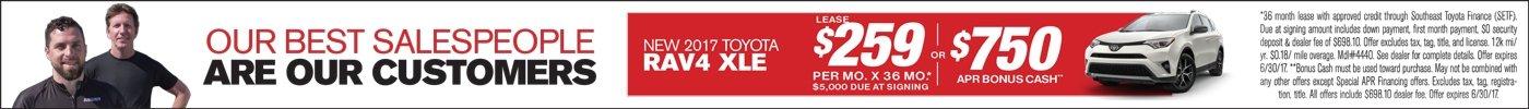 Lease 2017 RAV4 for $259/mo or $750 Cash Back