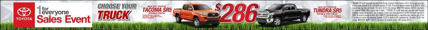 Lease 2017 Toyota Tacoma or Tundra $286