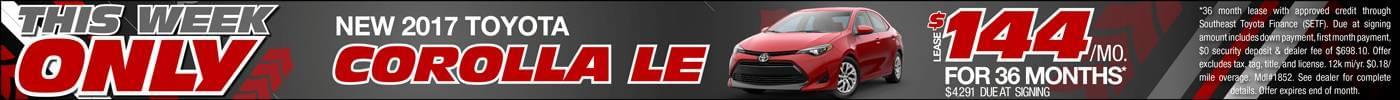 Lease 2017 Corolla $144