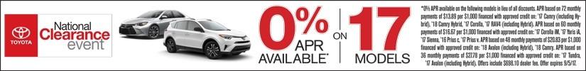 0% APR on 17 Toyota models