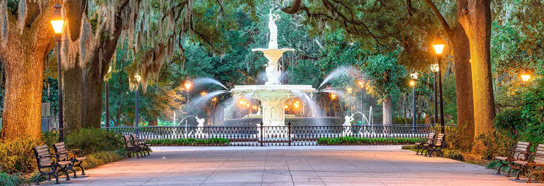 Savannah Georgia Park with Beautiful Statue Water Fountain copy