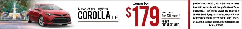 Lease 2018 Toyota Corolla for $179