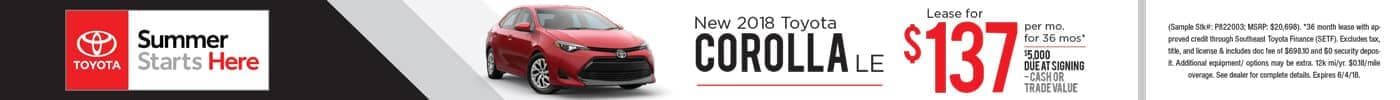 Lease 2018 Corolla LE for $137 a month