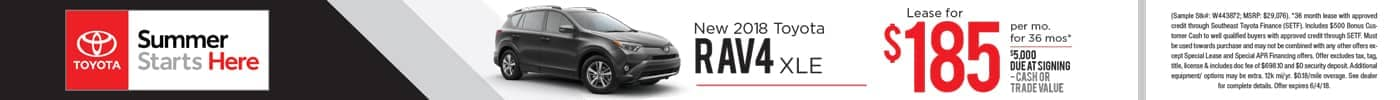 Lease 2018 RAV4 XLE for $185 a month
