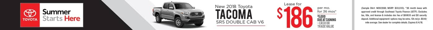 Lease 2018 Tacoma SR5 for $186 a month