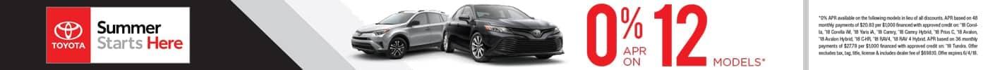 0% APR on 12 Toyota Models