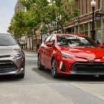 2019 Toyota Corolla LE Eco in Falcon Gray Metallic and XSE in Barcelona Red Metallic