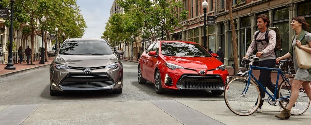 2019 Toyota Corolla LE Eco in Falcon Gray Metallic and XSE in Barcelona Red Metallic