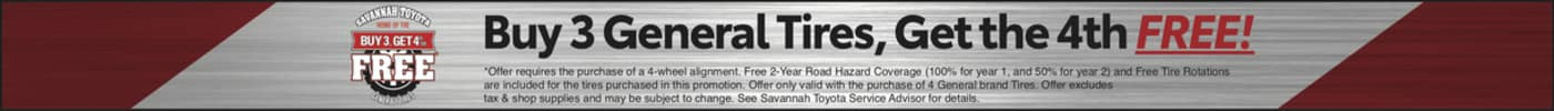 Buy 3 General Tires get the 4th free