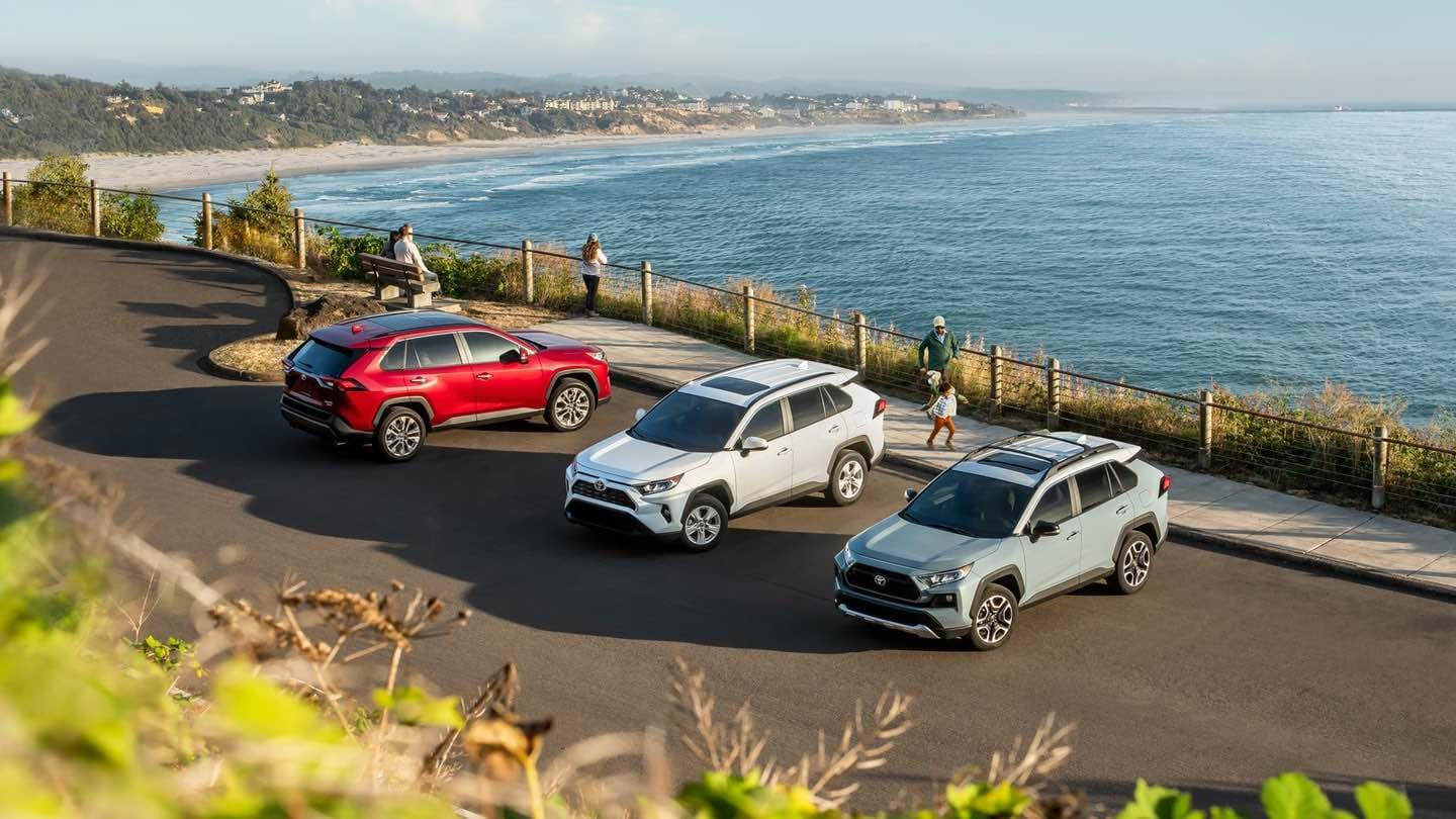 2019 Toyota RAV4 models near the beach
